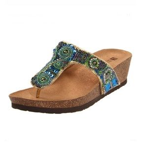 Beaded strap wedge sandals